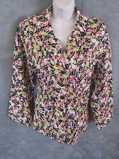 Kim Rogers Floral Linen Shirt Size Large 3/4 Sleeve Pintuck Detail
