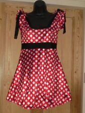 Pretty Red Satin White Polka Dot Tea Skater Dress Net Petticoat - Size 10