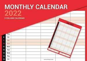 2022 LARGE MONTHLY PLANNER MONTH TO VIEW 5 Column WALL HANGING CALENDAR - 3813