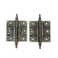 "2 Antique Vtg Eastlake Hinges 3 1/2 "" X 3 1/2"" Steeple Top Clark Mfg. Hardware"