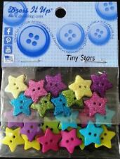 TINY STARS 10 GLITTER 25 PLAIN  NOVELTY BUTTONS FOR CLOTHING CRAFTS DRESS IT UP