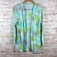 J. Jill PureJill Batik Green Blue Tie Dye Cardigan Jacket Sweater Size Large