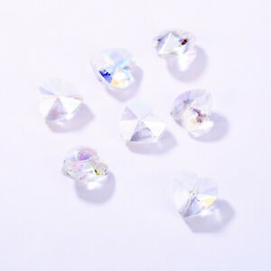 20pcs Faceted Glass Crystal Heart Spacer Loose Beads DIY Jewelry Making 14x8mm