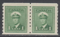 Canada #263 1¢ King George VI War Issue Coil Pair Mint Never Hinged