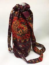 Hippie Napthal Block Print India Festival Water Bottle Bag Carrier Pouch Burgund