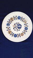 12'' White Marble Kitchen Serving Plate Inlay Patio Fine Work Hallway Art H4080C
