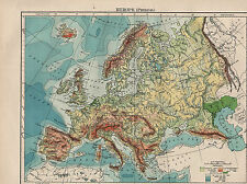 1902 MAP ~ EUROPE PHYSICAL ~ LAND HEIGHTS MOUNTAIN RANGES