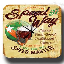 SPEEDWAY 97 SPEED MASTER VINTAGE RETRO TRAVEL AGENT METAL TIN SIGN WALL CLOCK