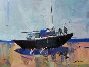 JOSE TRUJILLO Oil Painting IMPRESSIONISM 18x24 Large Boat Sailors Sailboat NR