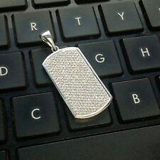 Charm Pendant 925 Sterling Silver Men's Pave 1.64ct Diamond Dog Tag