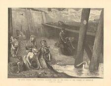 Coal Famine, Poor Children Gleaning Coal , River Thames, 1892 Antique Art Print