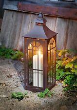 große Laterne aus Metall & Glas, 45 cm hoch, Garten Kerzen Halter Windlicht