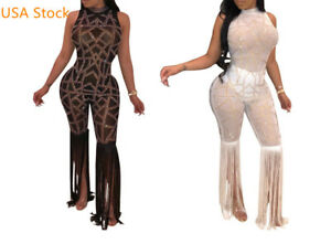 USA  Women Sheer Mesh  Rhinestone See Through Party Catsuit Tassel Jumpsuit Q14