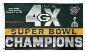Green Bay Packers Flag 4X Super Bowl Champions 3x5 NFL Large Banner