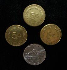 VINTAGE GUMBALL MACHINE VENDING MACHINE  5 cent tokens Set of (3)