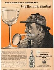 1959 Booth's House Of Lords Gin BASIL RATHBONE Sherlock Holmes art VTG Print Ad