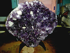 AMETHYST CRYSTAL CLUSTER  CATHEDRAL GEODE FROM BRAZIL W/ BLACK STEEL STAND