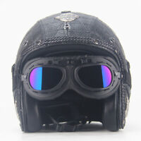DOT Motorcycle Helmet Open Face Half 3/4 Leather Helmet w/Goggles Street Bike