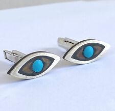 VTG Taxco Tono Evil Eye CuffLinks Mexico Piedra Negra Sterling Silver Onyx 1950s