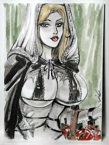 Arianne Suspected Witch Sketch Card Original ACEO Pin Up by Jimbing