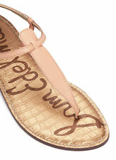 NUD03012 Sam Edelman Gigi Nude Leather T-Strap Flat Sandals Thong 8.5 Natural