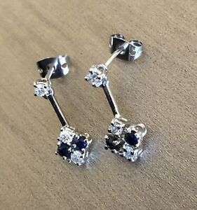 18ct White Gold Diamond Sapphire Earrings Square Halo Drop Cluster Studs