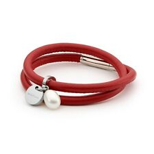 Red Leather Bangle Bracelet with Fresh Water Pearl