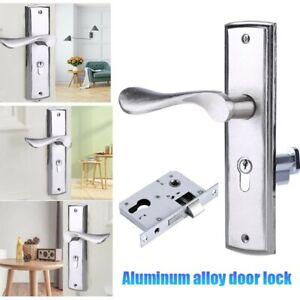 Door Handle Lock Cylinder Front Back Lever Latch Home Security Solid Door Lock