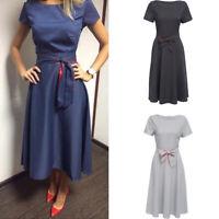 Women Vintage Fashion Dress Dot Short Sleeve Ball Gown Dress Evening Party Dress