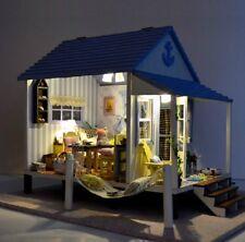 DIY LIGHT wooden Dollhouse miniatures happyness Coast kit seaview bay chalet