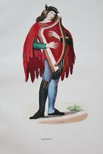 GRAVURE-MENESTREL ROMAN DE LA ROSE-COSTUMES MOYEN AGE 1847-ANTIQUE  PRINT