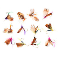 12 Pcs Dry Fishing Flies Trout Lures Hooks for Fly Fishing Rod Reel
