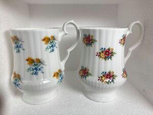 Set of 2 Royal Windsor Fine Bone China England Floral Mug Cup