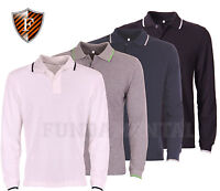 Mens Polo Shirts - Long Sleeved Top - Cotton Polo Shirt - Pique Polo T-Shirts