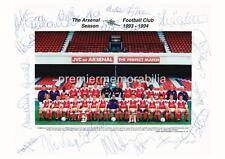 Arsenal FC 1993-1994 Ian Wright Tony Adams David marin signé (imprimée) x 19