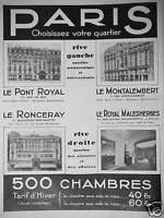 PUBLICITÉ HOTEL DE PARIS LE PONT ROYAL LE RONCERAY LE MONTALEMBERT MALESHERBES
