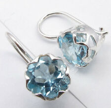 "925 Solid Silver BLUE TOPAZ Nice CAGE Setting Lovely Earrings 0.7"" NEW ITEM"