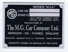 Plaque constructeur MG MGA - vin plate MG MGA - MG MGA data plate