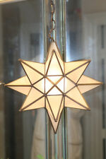"""Moravian  star 13.5"""" frosted glass star with antique bronze trim ceiling canopy"""