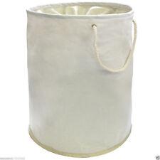 Round Foldable Pop Up Laundry Storage Basket  - Cream 35cm x 48cm