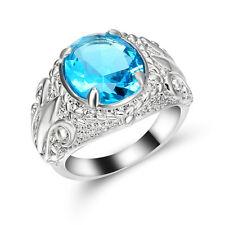 sky-blue Topaz round Gem Flower Wedding Ring 10Kt white Gold Filled Size 6 Gift