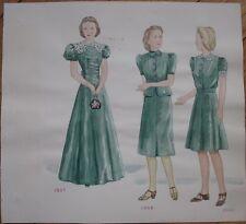 Original Art/Hand-Painted Fashion/Clothing Painting: 1935, 1936, 1940 - 12