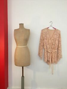 Ministry Of Style 12 M Jumpsuit Romper Playsuit NUDE ROSE Crochet Look SILK Mix