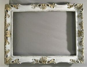 Picture Frame 13 x 19  Late 1800`s Shabby Chic Design White Over Gold VG Cond.