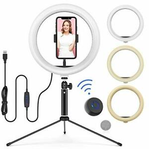 """LED Ring Light 10"""" with Adjustable Tripod Stand & Phone Holder, Wireless Remote"""