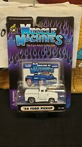 NIB 2000 1956 FORD PICK UP MUSCLE MACHINES FUNLINE REPLICA 1/64 WHITE 01-50