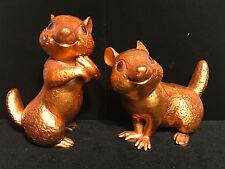 FREEMAN MCFARLIN ~ Pair CHIPMUNKS Gold Leaf Ceramic Figures, Vintage CA Pottery