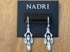 Zirconia Drop Earrings, Nwt $170 Nadri Rhodium Plated Triple Row Cubic