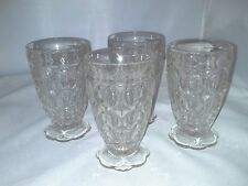 Jeanette Glass 4 Thumbprint Juice Glasses With Scalloped Foot Depression Clear