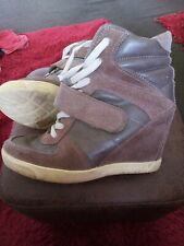 OFFICE HIGH TOP LEATHER WEDGE TRAINER STYLE BOOTS UK Beige 3 good condition
